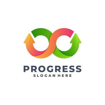 Vetor de logotipo gradiente de progresso
