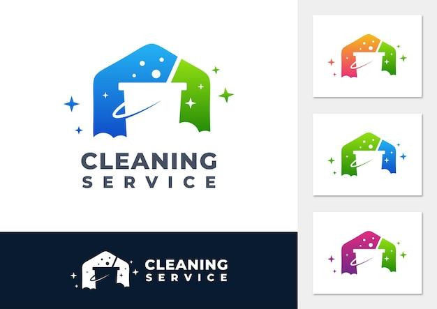 Vetor de logotipo gradiente de serviço de limpeza