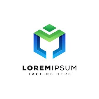Vetor de logotipo hexágono letra m