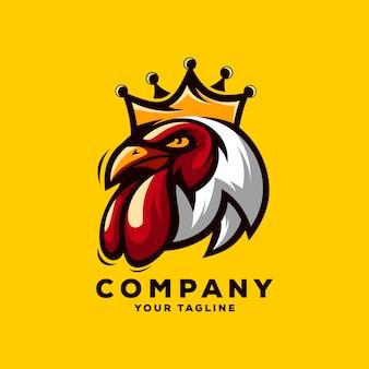 Vetor de logotipo incrível rei galo