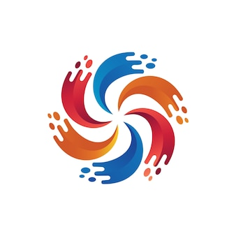 Vetor de logotipo líquido respingo colorido