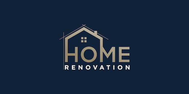 Vetor de logotipo para casa com conceito criativo para empresa de construção de renovação vector premium