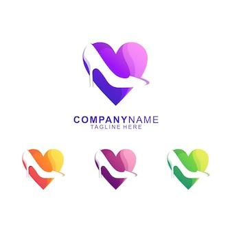 Vetor de logotipo premium de salto alto incrível amor