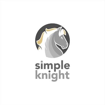 Vetor de logotipo redondo simples de cabeça de cavalo