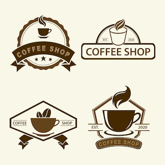 Vetor de logotipo vintage de cafeteria
