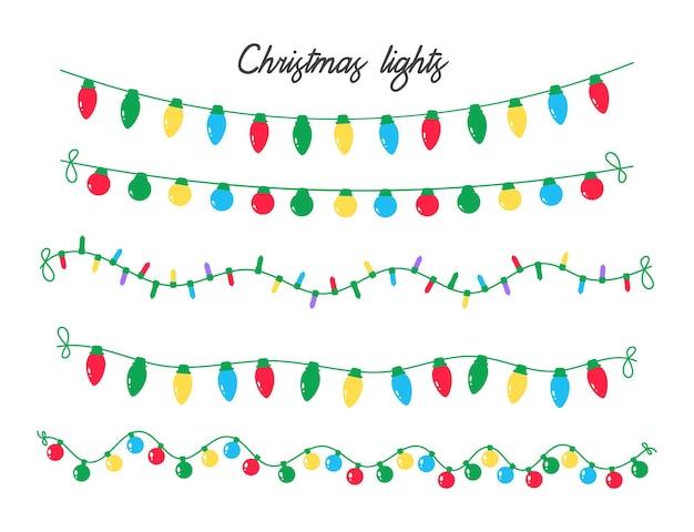 Vetor de luzes de natal. lâmpadas coloridas para decorações de natal.