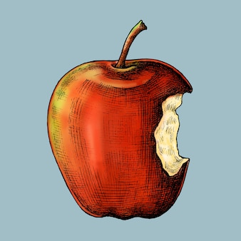 Vetor de maçã vermelha madura mordida