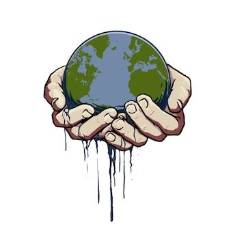 Vetor de mão com o mundo do globo