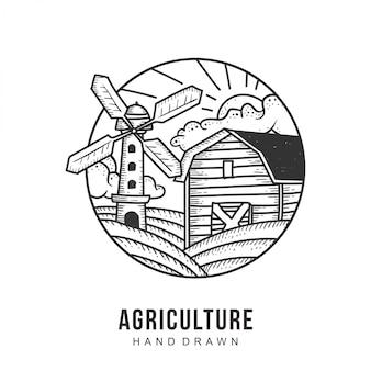 Vetor de mão desenhada de logotipo de agricultura