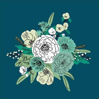 Vetor de mão desenhada floral conjunto