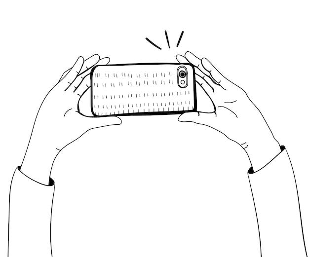 Vetor de mãos tirando foto com smartphone