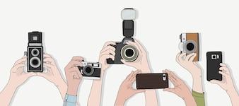 Vetor de mãos tirando fotos