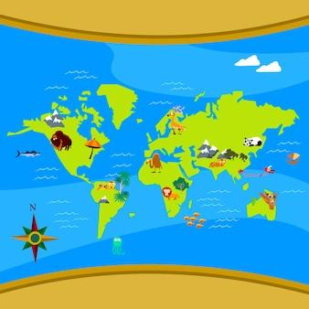 Vetor de mapa mundo dos desenhos animados