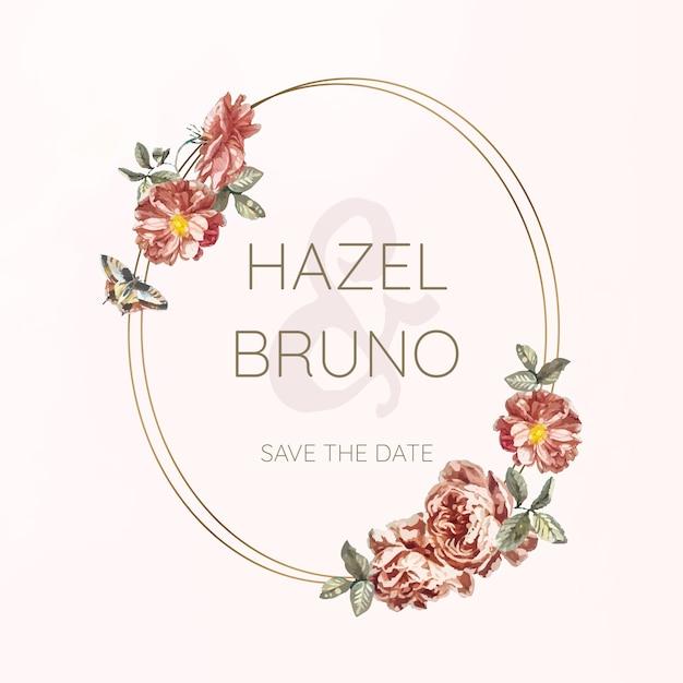 Vetor de maquete de convite de casamento floral
