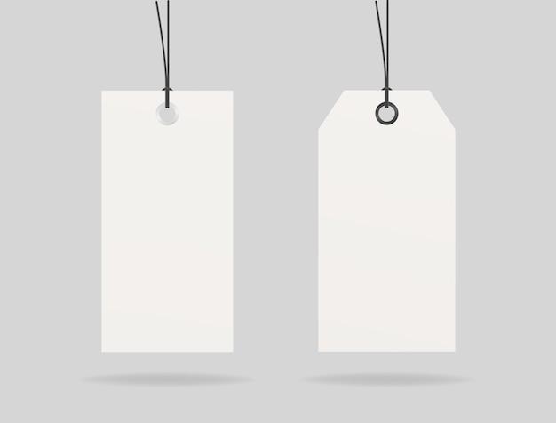 Vetor de maquete de etiqueta de preço de papel em branco. conjunto de etiqueta de preço. vetor de maquete isolado. modelo de design. realista.
