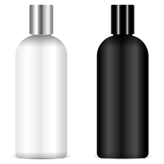 Vetor de maquete de garrafas de shampoo preto e branco