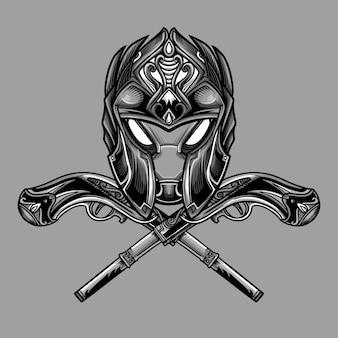 Vetor de máscara de artilheiro afiado