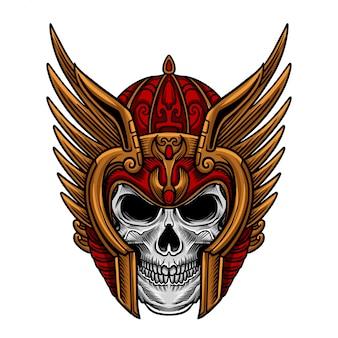 Vetor de máscara de guerreiro crânio