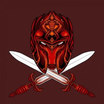Vetor de máscara de guerreiro de fogo