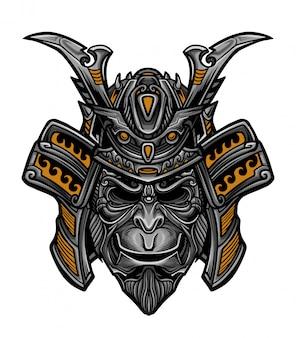 Vetor de máscara de macaco samurai
