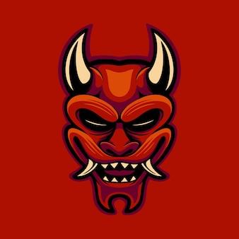 Vetor de máscara oni vermelha com estilo cartoon