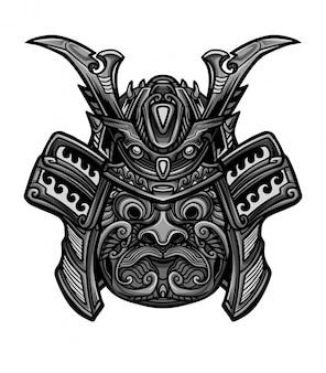 Vetor de máscara pesada de samurai