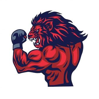 Vetor de mascote de lutador de leão