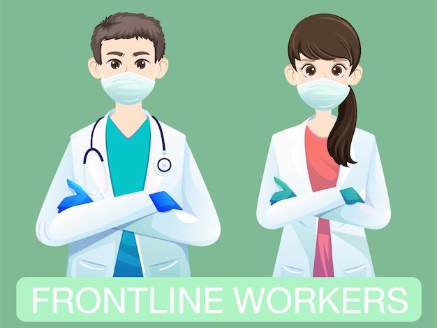 Vetor de médicos e pessoal médico