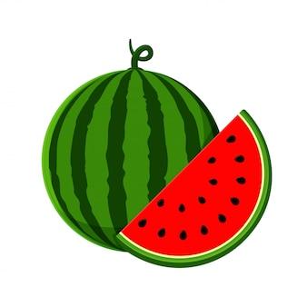Vetor de melancia melancia com carne vermelha é isolado pela metade