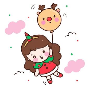 Vetor de menina kawaii usar vestido de natal chique
