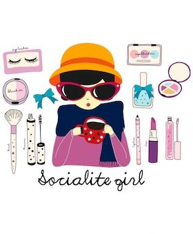 Vetor de menina socialite