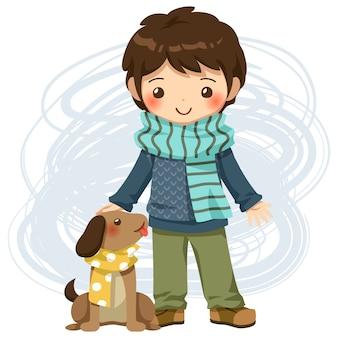 Vetor de menino e cachorro