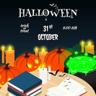 Vetor de mesa isométrica de halloween feliz dia das bruxas