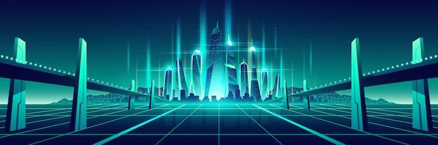 Vetor de metrópole virtual do futuro mundo digital