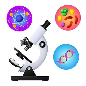 Vetor de microscópio, dna, bactéria e átomo