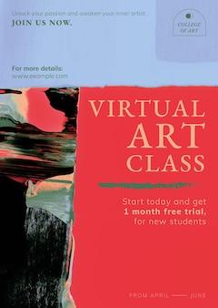 Vetor de modelo abstrato, anúncio de classe virtual para cartaz
