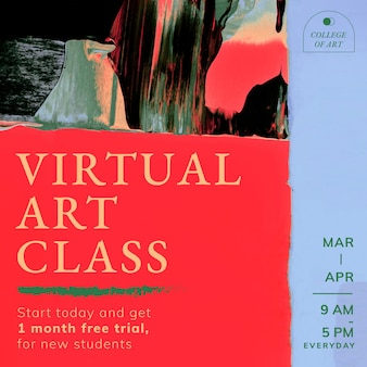 Vetor de modelo abstrato, anúncio de classe virtual para postagem em mídia social