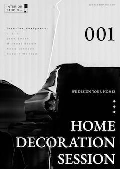 Vetor de modelo abstrato, anúncio de design de interiores para cartaz