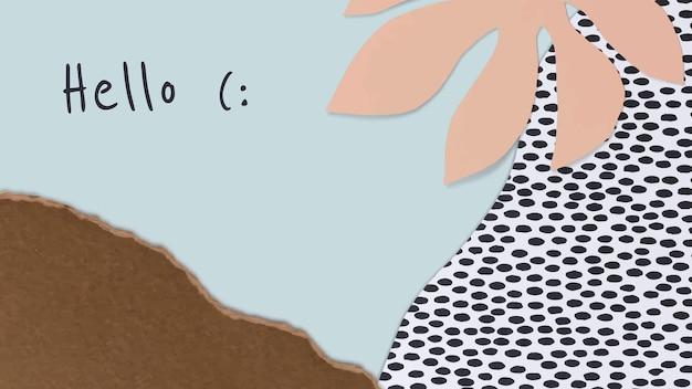 Vetor de modelo botânico com papel artesanal para banner de blog