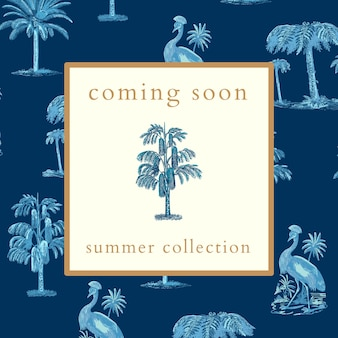 Vetor de modelo de anúncio de coleção de verão com fundo tropical