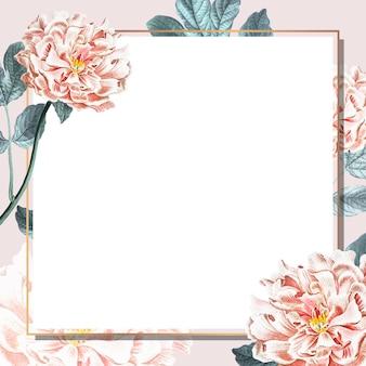 Vetor de modelo de anúncios sociais com moldura dourada de peônia floral