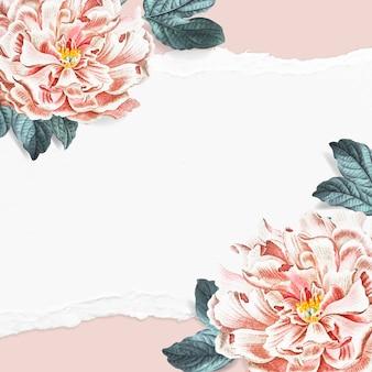 Vetor de modelo de anúncios sociais com moldura floral de peônia em branco