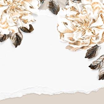 Vetor de modelo de anúncios sociais com moldura floral peônia