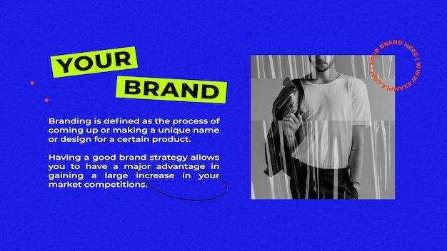 Vetor de modelo de apresentação com fundo azul retrô para o conceito de moda de estilo de rua