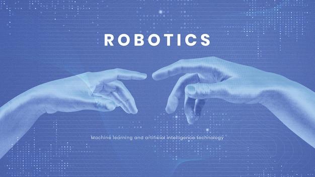 Vetor de modelo de apresentação de tecnologia robótica ia inovação futurista