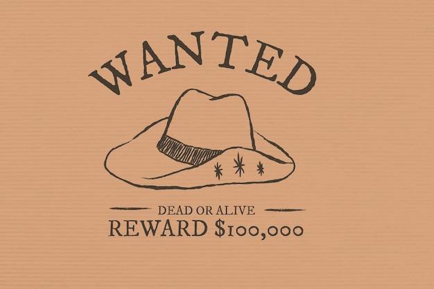 Vetor de modelo de apresentação procurado vintage com elementos desenhados à mão no tema cowboy