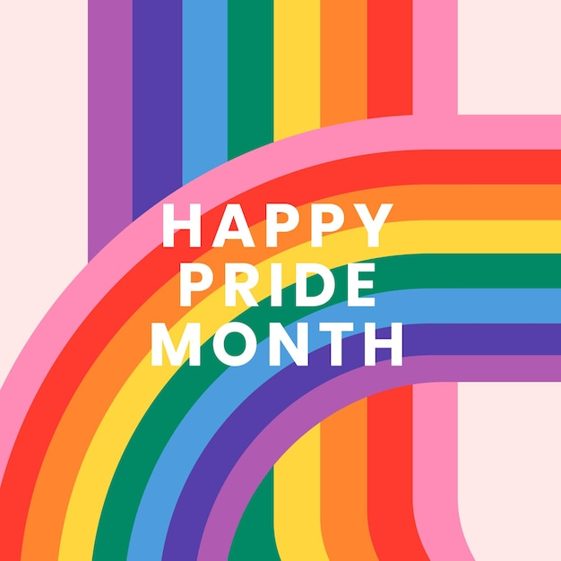 Vetor de modelo de arco-íris com texto do mês do orgulho feliz