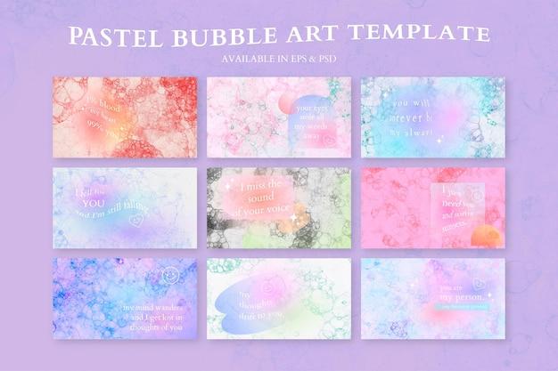 Vetor de modelo de arte de bolha estética com conjunto de banner de blog de citação de amor