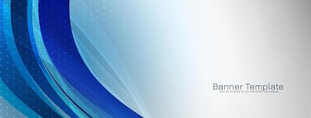 Vetor de modelo de banner abstrato elegante azul ondulado