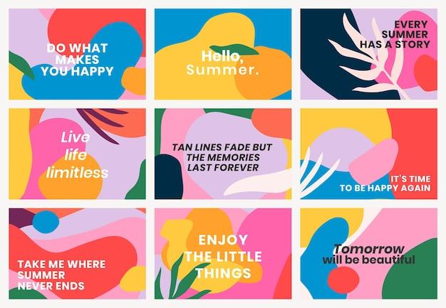 Vetor de modelo de banner colorido com conjunto de citações motivacionais